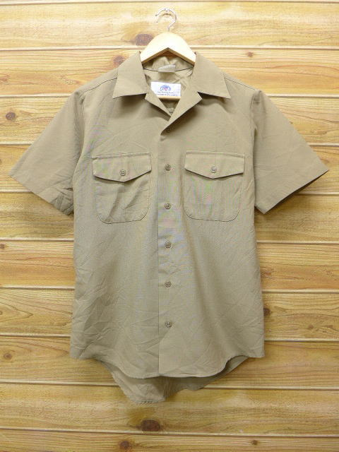 M★古着 半袖 ミリタリー シャツ USA製 ベージュ カーキ 18jun22 中古 メンズ トップス