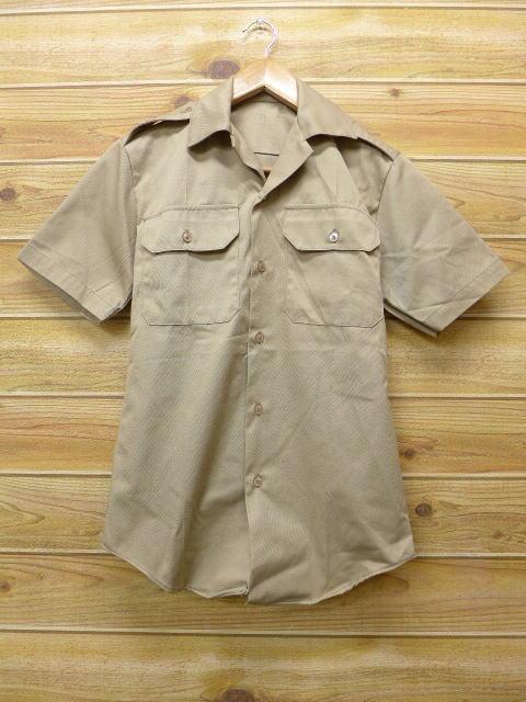 XS★古着 半袖 ミリタリー シャツ 80年代 USA製 ベージュ カーキ 18jun22 中古 メンズ トップス