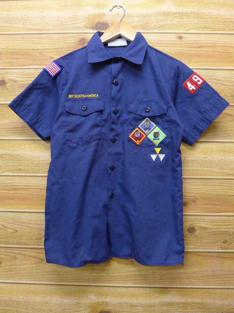 S★古着 半袖 シャツ ボブキャット USA製 紺 ネイビー 18jun22 中古 メンズ トップス
