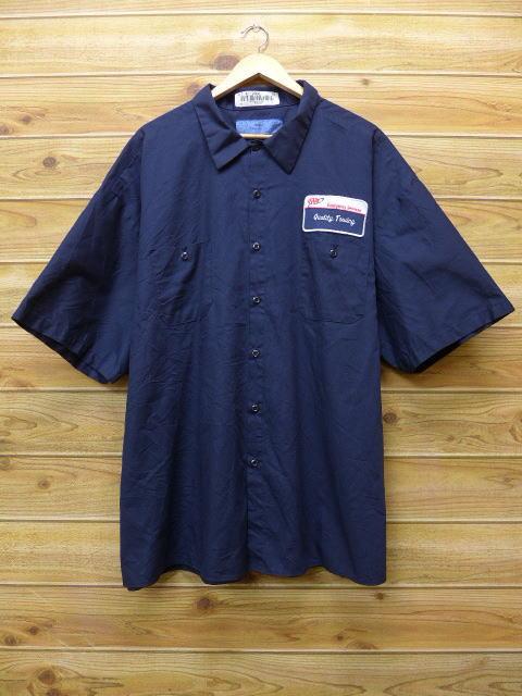 XL★古着 半袖 ワーク シャツ AAA 大きいサイズ 紺 ネイビー 18jun22 中古 メンズ トップス