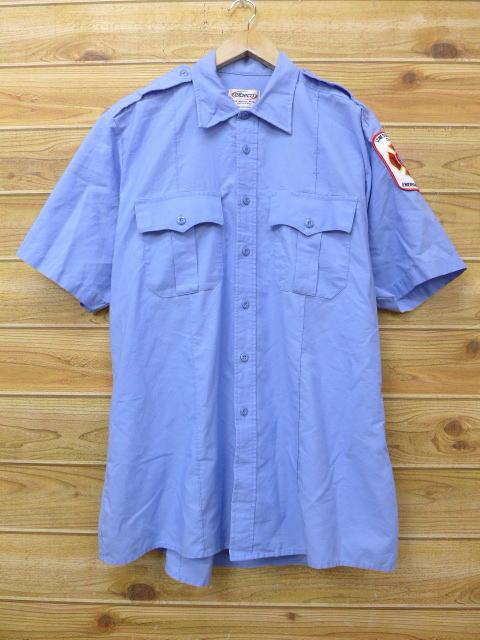 L★古着 半袖 ワーク シャツ 消防署 薄紺 ネイビー 18jun22 中古 メンズ トップス