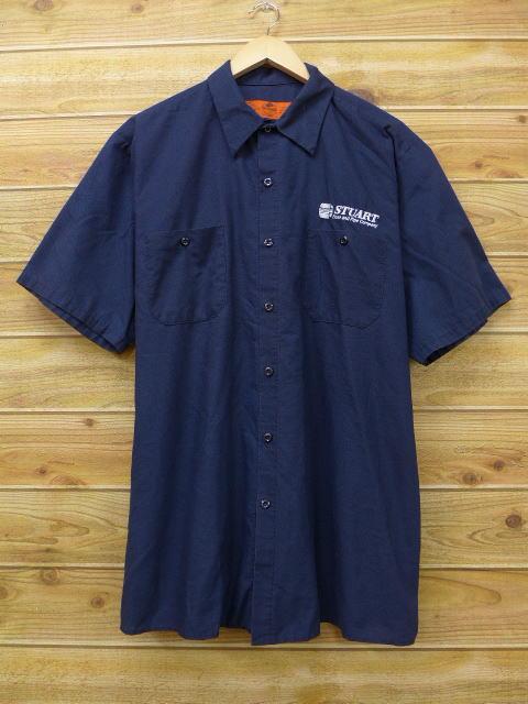 XL★古着 半袖 ワーク シャツ レッドキャップ パイプカンパニー 大きいサイズ 紺 ネイビー 18jun27 中古 メンズ トップス