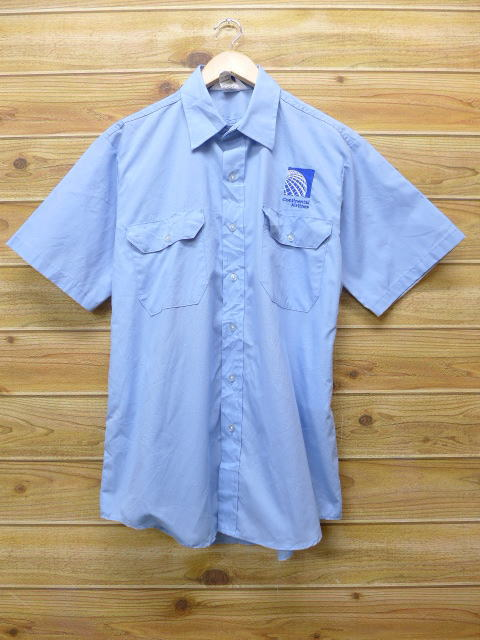 L★古着 半袖 ワークシャツ コンチネンタル航空 USA製 水色 18jun28 中古 メンズ トップス