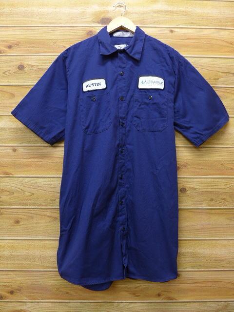 L★古着 半袖 ワークシャツ レッドキャップ ALBE ロング丈 紺 ネイビー 18jun28 中古 メンズ トップス