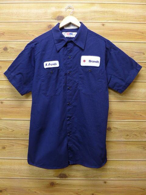 L★古着 半袖 ワークシャツ Brandt 紺 ネイビー 18jun28 中古 メンズ トップス