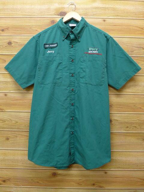 L★古着 半袖 ワークシャツ オートパーツ 緑 グリーン 18jun28 中古 メンズ トップス