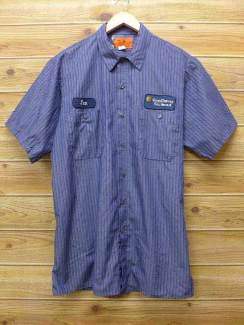 L★古着 半袖 ワークシャツ サウスイースト グレー ストライプ 18jun28 中古 メンズ トップス