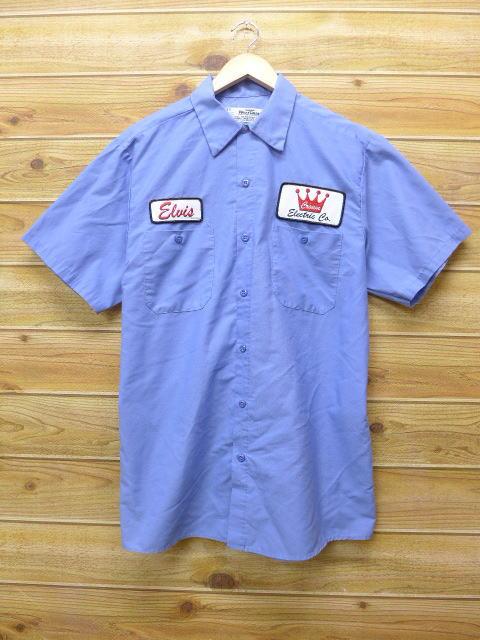 L★古着 半袖 ワークシャツ クラウン USA製 薄紺 ネイビー 18jun28 中古 メンズ トップス