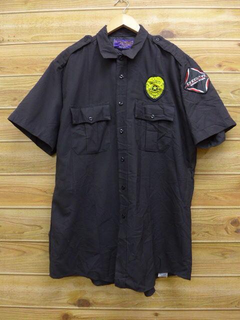 L★古着 半袖 ワーク シャツ セキュリティシステム 黒 ブラック 18jul03 中古 メンズ トップス