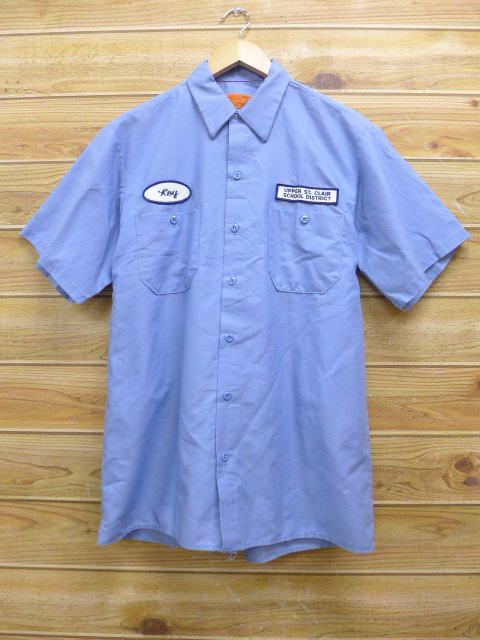 M★古着 半袖 ワーク シャツ スクール USA製 薄紺 ネイビー 18jul03 中古 メンズ トップス