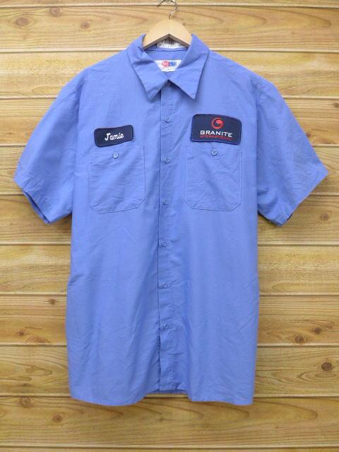 XL★古着 半袖 ワーク シャツ GRANITE 大きいサイズ 薄紺 ネイビー 18jul03 中古 メンズ トップス
