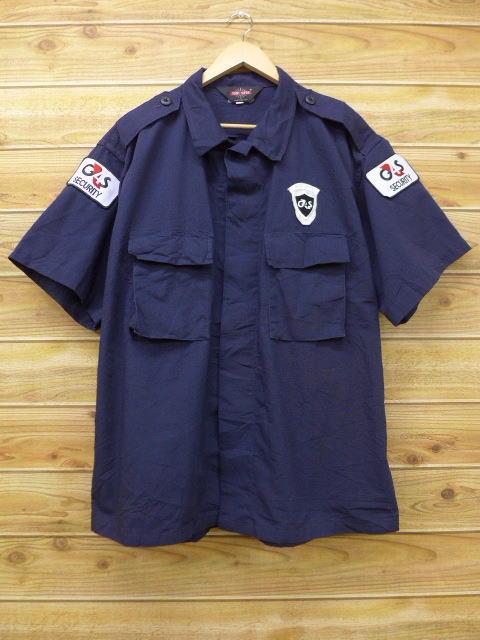 XL★古着 半袖 ミリタリー シャツ GS リップストップ 大きいサイズ 紺 ネイビー 18jul03 中古 メンズ トップス
