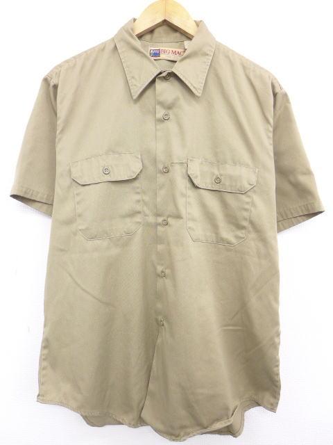 XL★古着 半袖 ワーク シャツ 90年代 ビッグマック BIG MAC USA製 ベージュ カーキ 19jul30 中古 メンズ トップス