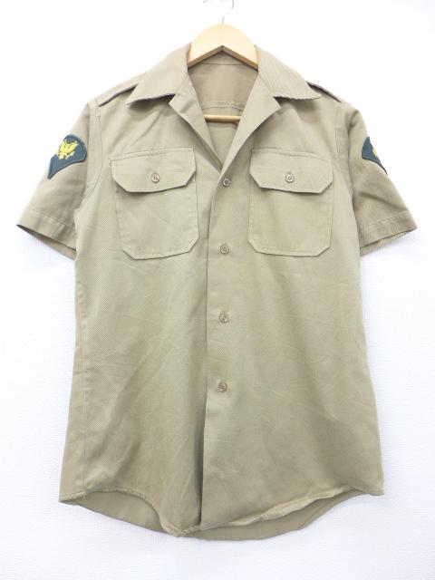 S★古着 半袖 ビンテージ ミリタリー シャツ 70年代 ベージュ カーキ 19aug23 中古 メンズ トップス
