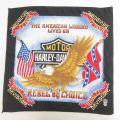 中古 ハーレーダビッドソン Harley Davidson バンダナ 80年代 80s 鳥 星条旗 サザンクロス USA製 黒 ブラック 21jul27