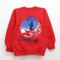 古着 キッズ 子供服 長袖 スウェット 90年代 90s スチームボート スキー ラグラン クルーネック USA製 赤 レッド 21feb22