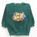古着 キッズ 子供服 長袖 フリース トップス 00年代 00s ディズニー DISNEY くまのプーさん ティガー ピグレット 刺繍 クルーネック 緑 グリーン 21feb22