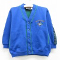 古着 キッズ 子供服 長袖 スウェット カーディガン 90年代 90s ドッカーズ 刺繍 Vネック 青 ブルー 21feb22
