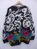 古着 レディース セーター 花 手編み 大きいサイズ 黒他 ブラック 19feb20 中古 ニット トップス
