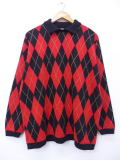 古着 セーター 90年代 アーガイル 大きいサイズ USA製 赤他 レッド 19feb20 中古 ニット トップス