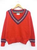 古着 レディース 長袖 チルデン セーター 80年代 ペンドルトン PENDLETON ウール USA製 クルーネック 赤 レッド 19sep24 中古 ニット トップス
