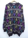古着 レディース 長袖 セーター 90年代 雪柄 手織り アルパカ クルーネック 黒他 ブラック 19oct03 中古 ニット トップス