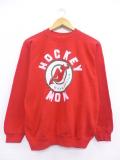 古着 レディース 長袖 スウェット 90年代 NHL ニュージャージーデビルス ラグラン クルーネック USA製 赤 レッド アイスホッケー 19oct09 中古 スエット トレーナー トップス