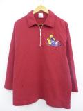 古着 レディース ブランド 長袖 スウェット 90年代 ディズニー DISNEY くまのプーさん ピグレット イーヨー 刺繍 大きいサイズ コットン 赤 レッド 19oct11 中古 スエット トレーナー トップス