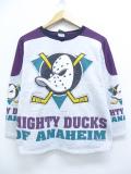 古着 レディース 長袖 スウェット 90年代 NHL アナハイムダックス クルーネック USA製 グレー 霜降り アイスホッケー 19oct15 中古 スエット トレーナー トップス