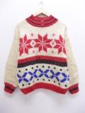 古着 レディース 長袖 セーター 雪柄 手編み タートルネック ハイネック 赤他 レッド 19oct18 中古 ニット トップス