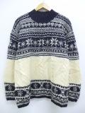 古着 レディース 長袖 ノルディック セーター 90年代 タルボット 雪柄 手編み ウール 大きいサイズ モックネック ハイネック 黒他 ブラック 【spe】 19oct18 中古 ニット トップス