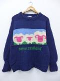 古着 長袖 セーター 羊 手織り ニュージーランド製 ウール クルーネック 紺 ネイビー 【spe】 19oct28 中古 ニット トップス