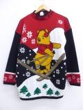 古着 レディース 長袖 セーター 90年代 ディズニー DISNEY くまのプーさん クルーネック USA製 黒 ブラック 19oct29 中古 ニット トップス
