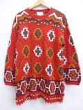 古着 長袖 セーター ネイティブ柄 手織り クルーネック 赤 レッド 19oct29 中古 ニット トップス