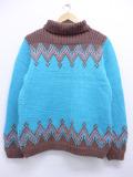 古着 レディース 長袖 セーター 70年代 手織り ハイネック タートルネック 水色 19nov04 中古 ニット トップス