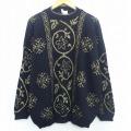 古着 レディース 長袖 セーター 90年代 90s 花 ラメ 大きいサイズ ハイネック モックネック 黒 ブラック 19nov13 中古 ニット トップス