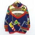 古着 レディース 長袖 セーター 80年代 80s ゴルフ 手編み ウール 紺他 ネイビー 【spe】 19dec24 中古 ニット トップス