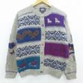 古着 レディース 長袖 ノルディック ニット カーディガン 90年代 90s ウールリッチ WOOLRICH 雪柄 手織り ウール クルーネック グレー 19dec24 中古 トップス