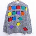 古着 長袖 セーター 90年代 90s ハイネック モックネック 黒 ブラック 霜降り 19dec24 中古 ニット トップス