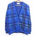 古着 レディース 長袖 ニット カーディガン 80年代 80s ペンドルトン PENDLETON ウール USA製 Vネック 青 ブルー チェック 19dec24 中古 トップス