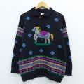古着 レディース 長袖 セーター 80年代 80s 馬 手縫い刺繍 シェットランドウール 黒 ブラック 20jan24 中古 ニット トップス