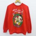 古着 レディース 長袖 スウェット 90年代 90s ディズニー DISNEY ミッキー MICKEY MOUSE ミニー クリスマス ラメ ハイネック モックネック USA製 赤 レッド 20feb13 中古 スエット トレーナー トップス