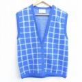 古着 レディース ニット ベスト カーディガン 80年代 80s ペンドルトン PENDLETON ウール USA製 青他 ブルー チェック 20sep01 中古 トップス