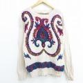 古着 レディース 長袖 セーター 花 手織り Vネック 薄ベージュ カーキ 20sep08 中古 ニット トップス