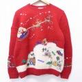古着 レディース 長袖 セーター 90年代 90s タルボット クリスマス サンタクロース トナカイ 手編み ハンドニット ウール 赤 レッド 【spe】 20sep21 中古 ニット トップス