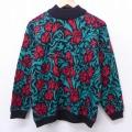 古着 レディース 長袖 セーター 80年代 80s 花 ハイネック モックネック USA製 青緑 21feb19 中古 ニット トップス