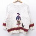 古着 レディース 長袖 セーター 90年代 90s 女性 犬 クルーネック USA製 白他 ホワイト 【spe】 21feb22 中古 ニット トップス
