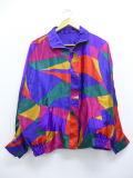 古着 レディース ジャケット 大きいサイズ リバーシブル ドルマンスリーブ 紫他 パープル 19jul04 中古 アウター ジャンパー ブルゾン