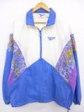 古着 レディース 長袖 ナイロン ジャケット 90年代 リーボック REEBOK マルチカラー 青他 ブルー 19sep13 中古 アウター ウインドブレーカー
