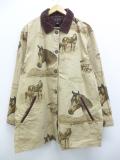 古着 レディース 長袖 ジャケット カバーオール 90年代 馬 大きいサイズ 襟コーデュロイ コットン ベージュ カーキ 19sep13 中古 アウター ジャンパー ブルゾン